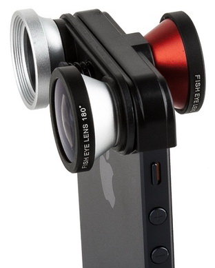 Объектив для iPhone 5/5S Photo Lens Fast conversion ib-FMST 4-in-one (Red/Silver)